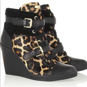 Michael Kors Skid Wedge Sneakers Booties Leopard 7